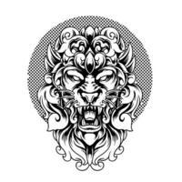 cabeça de leão com silhueta de ornamento vetor