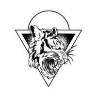silhueta da ilustração do tigre rugindo vetor