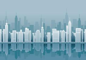 Paisagem urbana sem emenda com arranha-céus. vetor