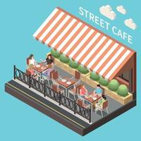 composição isométrica colorida do terraço do café de rua vetor