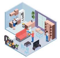 conceito de design isométrico de showroom de móveis vetor