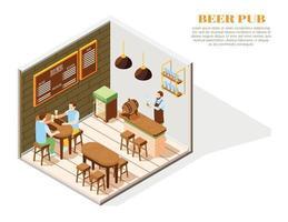 composição isométrica de pub de cerveja vetor