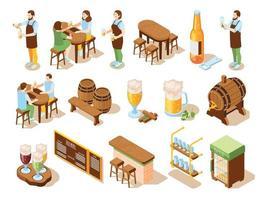 ícones isométricos de pub de cerveja vetor