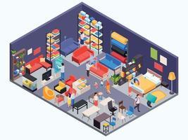loja de móveis com fundo isométrico vetor