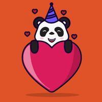 ilustração do panda com forma de amor e chapéu de aniversário vetor