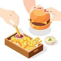 composição isométrica do menu de hambúrguer vetor
