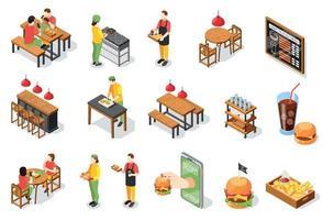 coleção de ícones de hamburguerias vetor