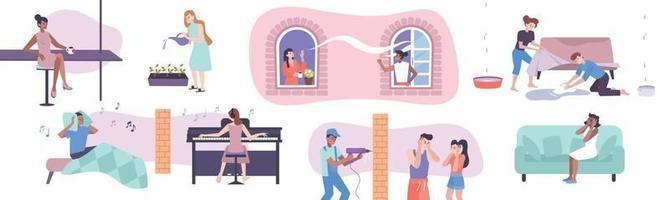 conjunto de conceitos de vizinhos de casa vetor