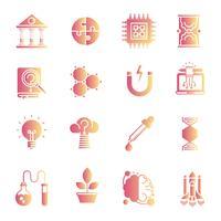 Conjunto de ícones de gradiente de ciência vetor