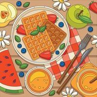 composição do café da manhã com waffles de frutas vetor
