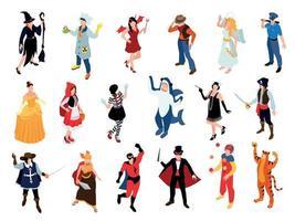 conjunto de fantasias de baile de máscaras vetor