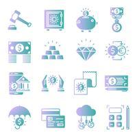 Conjunto de ícones de gradiente bancário vetor