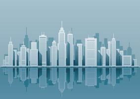 Arquitectura da cidade com arranha-céus, ilustração do vetor. vetor