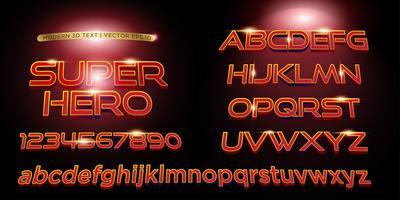 Super-herói 3D estilizado letras de texto, fonte e ordem alfabética