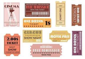 Pacote de vetores de bilhetes para filmes e eventos