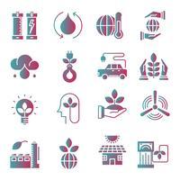 Conjunto de ícones de gradiente de ecologia vetor