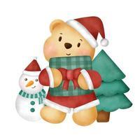 aquarela cartão de Natal com fofo urso de pelúcia. vetor