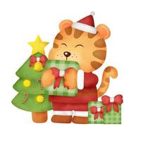 cartão de natal do tigre em aquarela vetor
