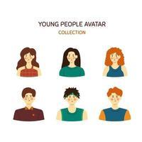 pacote de avatar de jovens desenhados à mão, diferentes masculinos e femininos vetor