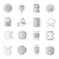 Conjunto de ícones de gradiente eletrônica vetor