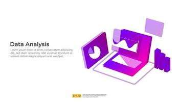 visualização de análise digital de dados com personagem, conceito de gráficos vetor