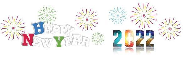 feliz ano novo 2022 com fundos de fogos de artifício vetor