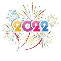 feliz ano novo de 2022 com fogos de artifício explodindo vetor