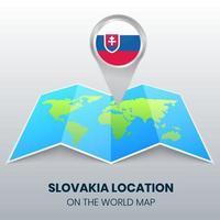 ícone de localização da Eslováquia no mapa mundial, ícone de alfinete redondo da Eslováquia vetor
