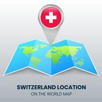 ícone de localização da Suíça no mapa mundial vetor