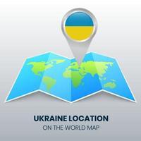 ícone de localização da Ucrânia no mapa mundial, ícone de alfinete redondo da Ucrânia vetor