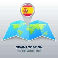 ícone de localização da espanha no mapa mundial, ícone de alfinete redondo da espanha vetor
