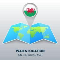 ícone de localização de wales no mapa mundial, ícone de alfinete redondo de wales vetor