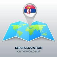ícone de localização da sérvia no mapa mundial, ícone de alfinete redondo da sérvia vetor