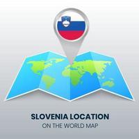 ícone de localização da Eslovênia no mapa mundial, ícone de alfinete redondo da Eslovênia vetor