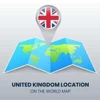 ícone de localização do Reino Unido no mapa mundial vetor