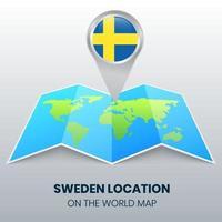 ícone de localização da Suécia no mapa mundial, ícone de alfinete redondo da Suécia vetor