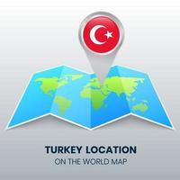 ícone de localização da Turquia no mapa mundial, ícone de pino redondo da Turquia vetor