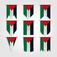 bandeira da palestina em diferentes formas vetor