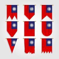 bandeira de taiwan em diferentes formas, bandeira de taiwan em várias formas vetor