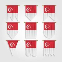 bandeira de singapura em diferentes formas vetor