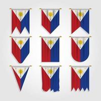bandeira das Filipinas em diferentes formas vetor
