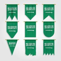 bandeira da arábia saudita em diferentes formas vetor