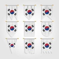 bandeira da coreia do sul em diferentes formas vetor