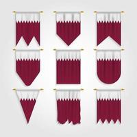 bandeira do Catar em diferentes formas, bandeira do Catar em várias formas vetor