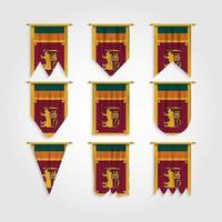 bandeira do sri lanka em diferentes formas, bandeira do srilanka em várias formas vetor