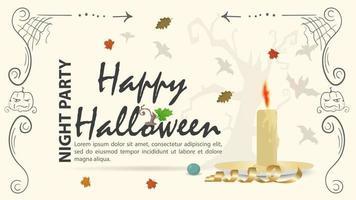 desenho de vela entre as folhas para o halloween vetor