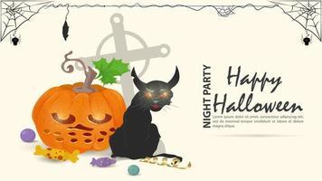 gato preto zangado com uma abóbora no fundo do dia das bruxas vetor