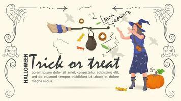 uma bruxa conjura doces para o dia das bruxas vetor