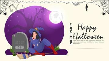 uma bruxa senta ao lado de uma lápide para o dia das bruxas vetor