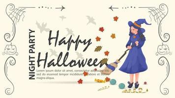 a bruxa varre as folhas para o halloween vetor